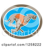 Clipart Of A Retro Racing Greyhound Dog In An Oval Royalty Free Vector Illustration by patrimonio