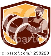 Clipart Of A Retro Male Bartender Carrying A Keg In A Brown And Orange Shield Royalty Free Vector Illustration