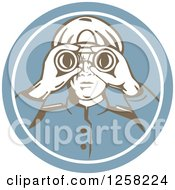 Clipart Of A Retro Sea Captain Using Binoculars In A Blue Circle Royalty Free Vector Illustration