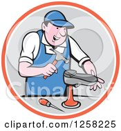 Clipart Of A Cartoon White Male Cobbler Working On A Shoe In An Orange White And Gray Circle Royalty Free Vector Illustration by patrimonio