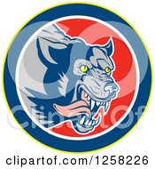 Clipart Of A Retro Wolf Attacking And Running In A Yellow Blue White And Red Circle Royalty Free Vector Illustration