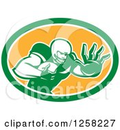 Clipart Of A Retro American Football Player Fending Off In A Green White And Orange Oval Royalty Free Vector Illustration by patrimonio