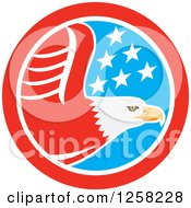 Clipart Of A Flying Bald Eagle In An American Flag Circle Royalty Free Vector Illustration