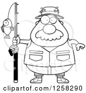 Clipart Of A Black And White Chubby Fisherman Royalty Free Vector Illustration by Cory Thoman