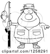 Clipart Of A Black And White Happy Chubby Fisherman Royalty Free Vector Illustration by Cory Thoman