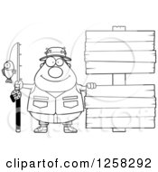 Clipart Of A Black And White Happy Chubby Fisherman With Wooden Signs Royalty Free Vector Illustration by Cory Thoman