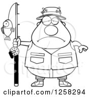 Clipart Of A Black And White Sad Depressed Chubby Fisherman Royalty Free Vector Illustration by Cory Thoman