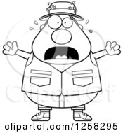 Clipart Of A Black And White Scared Screaming Chubby Fisherman Royalty Free Vector Illustration by Cory Thoman