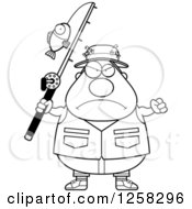 Clipart Of A Black And White Mad Chubby Fisherman Holding Up A Fist Royalty Free Vector Illustration by Cory Thoman