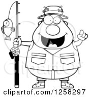 Clipart Of A Black And White Happy Chubby Fisherman With An Idea Royalty Free Vector Illustration by Cory Thoman
