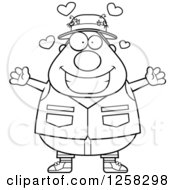 Clipart Of A Black And White Loving Chubby Fisherman With Open Arms And Hearts Royalty Free Vector Illustration by Cory Thoman
