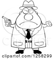 Clipart Of A Black And White Mad Chubby Male Detective With A Pistol And Balled Fist Royalty Free Vector Illustration