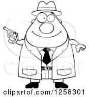 Clipart Of A Black And White Happy Chubby Male Detective Holding A Pistol Royalty Free Vector Illustration