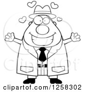 Clipart Of A Black And White Happy Chubby Male Detective With Open Arms And Hearts Royalty Free Vector Illustration