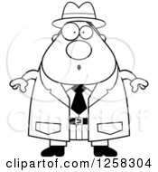 Clipart Of A Black And White Surprised Gasping Chubby Male Detective Royalty Free Vector Illustration
