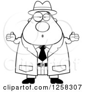 Clipart Of A Black And White Careless Shrugging Chubby Male Detective Royalty Free Vector Illustration
