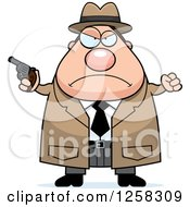 Clipart Of A White Mad Chubby Male Detective With A Pistol And Balled Fist Royalty Free Vector Illustration by Cory Thoman