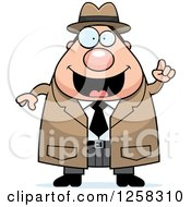 Clipart Of A White Happy Chubby Male Detective With An Idea Royalty Free Vector Illustration by Cory Thoman