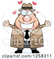 Clipart Of A White Happy Chubby Male Detective With Open Arms And Hearts Royalty Free Vector Illustration by Cory Thoman