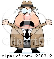 Clipart Of A White Scared Screaming Chubby Male Detective Royalty Free Vector Illustration