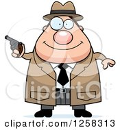 Clipart Of A White Happy Chubby Male Detective Holding A Pistol Royalty Free Vector Illustration by Cory Thoman