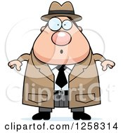 Clipart Of A White Surprised Gasping Chubby Male Detective Royalty Free Vector Illustration