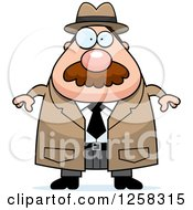 Clipart Of A White Chubby Male Detective Royalty Free Vector Illustration by Cory Thoman