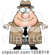 Clipart Of A White Happy Chubby Male Detective Royalty Free Vector Illustration