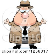 Clipart Of A White Careless Shrugging Chubby Male Detective Royalty Free Vector Illustration