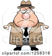 Clipart Of A White Sad Depressed Chubby Male Detective Royalty Free Vector Illustration by Cory Thoman