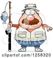 Clipart Of A White Chubby Fisherman Royalty Free Vector Illustration
