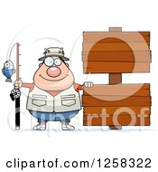 Clipart Of A Caucasian Happy Chubby Fisherman With Wooden Signs Royalty Free Vector Illustration by Cory Thoman