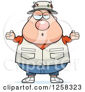 Clipart Of A White Careless Shrugging Chubby Fisherman Royalty Free Vector Illustration