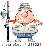 Clipart Of A White Sad Depressed Chubby Fisherman Royalty Free Vector Illustration