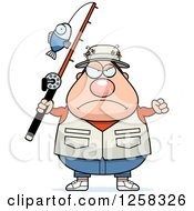 Clipart Of A White Mad Chubby Fisherman Holding Up A Fist Royalty Free Vector Illustration