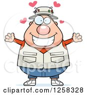 Clipart Of A White Loving Chubby Fisherman With Open Arms And Hearts Royalty Free Vector Illustration by Cory Thoman