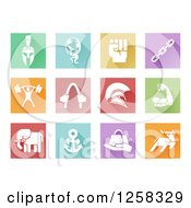 Clipart Of Colorful Square Tiles With White Sports And Strength Icons Royalty Free Vector Illustration by AtStockIllustration