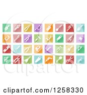 Clipart Of Colorful Square Tiles With White Tool Icons Royalty Free Vector Illustration by AtStockIllustration