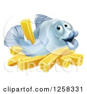 Clipart Of A Happy Blue Cod Fish Holding Up A French Fry Over Chips Royalty Free Vector Illustration