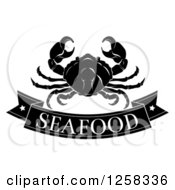 Clipart Of A Black And White Seafood Banner And Crab Royalty Free Vector Illustration by AtStockIllustration