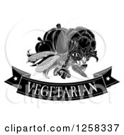 Clipart Of A Black And White Vegetarian Banner And Produce Royalty Free Vector Illustration