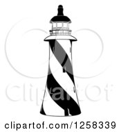 Clipart Of A Black And White Striped Lighthouse Royalty Free Vector Illustration by AtStockIllustration