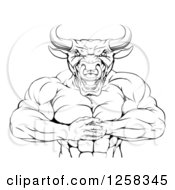 Clipart Of A Black And White Muscular Bull Man Gesturing Bring It With His Fists Royalty Free Vector Illustration