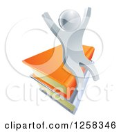 Clipart Of A 3d Happy Cheering Silver Man Sitting On Books Royalty Free Vector Illustration