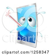 Clipart Of A Sick Smartphone With A Fever And Bursting Thermometer Royalty Free Vector Illustration