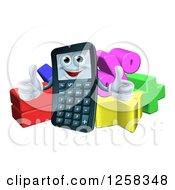 Clipart Of A Happy Calculator Character Holding Thumbs Up Over Math Symbols Royalty Free Vector Illustration by AtStockIllustration