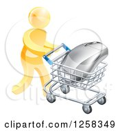 Clipart Of A 3d Gold Man Pushing A Giant Computer Mouse In A Shopping Cart Royalty Free Vector Illustration
