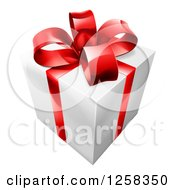 Clipart Of A 3d White Gift With A Red Ribbon And Bow Royalty Free Vector Illustration by AtStockIllustration