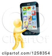 Clipart Of A 3d Gold Man Carrying A Giant Cell Phone With Apps Royalty Free Vector Illustration