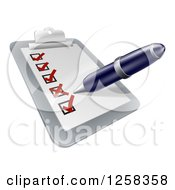 Clipart Of A Pen Checking On Items On A Clipboard Royalty Free Vector Illustration